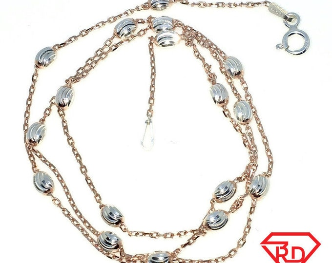 New Rose Gold Layered 925 Solid Sterling Silver 18 inch Diamond Cut Silver beads & Cable Chain Necklace with springring clasp