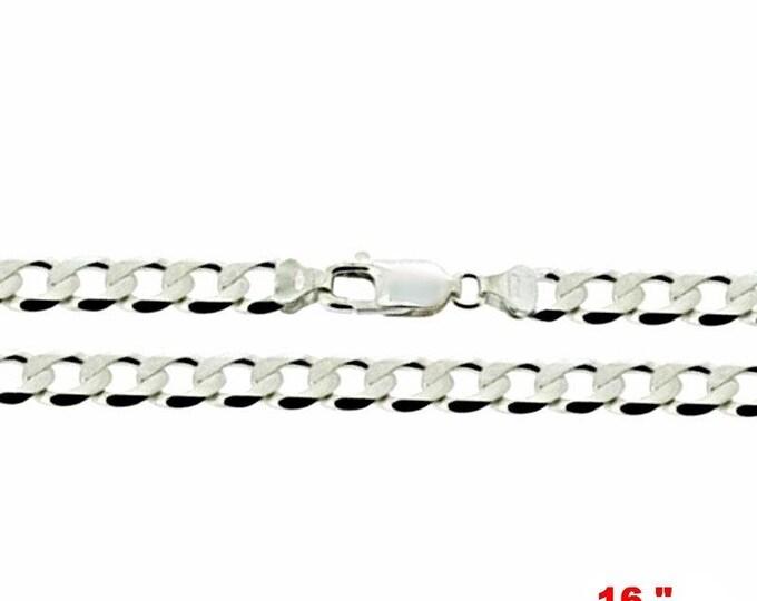 "Precious Italian Sterling Silver Anti-Tarnish Curb link Chain 2.2 MM 16 """