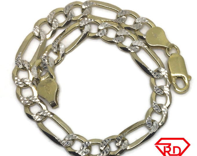 Figaro link Chain 8 inch Bracelet 14K Yellow Gold Layer