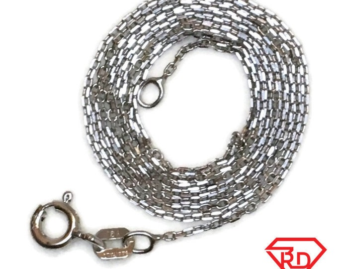 Brand New White Gold on 925 Sterling Silver Necklace 18 inch Thin Cable Chain with Springring Clasp ( 0 . 6 mm  )