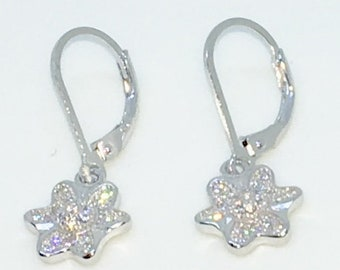 14k White Gold Layered Flower Shaped CZ on 925 Solid Sterling Silver Dangle Drop Earrings ( 10 . 2 mm )