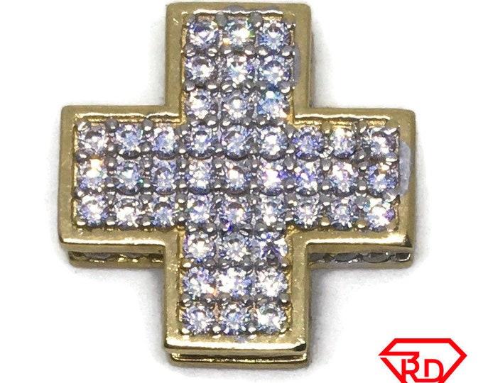 Squared Cross white CZ 14k yellow gold pendant