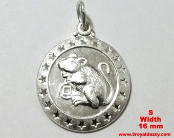 Small Chinese Zodiac Horoscope 999 fine Silver Round Year of Rat Pendant charm