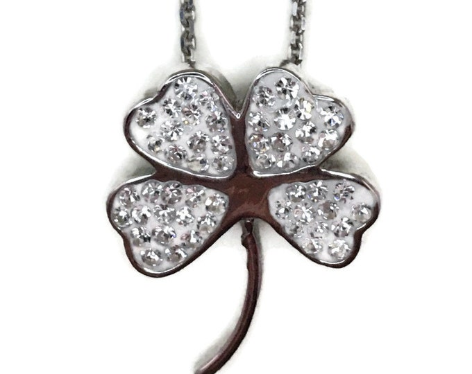 White Gold layer Silver Pendant four leaf clover & white round CZ