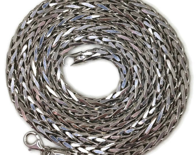 Wheat chain long Necklace 32 inch white gold on silver