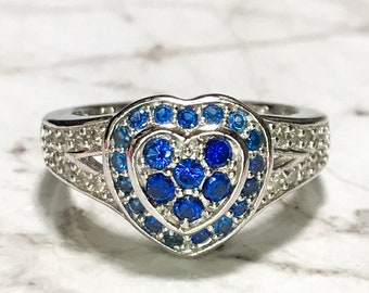 NEW 14K White Gold Layered on Sterling Silver Heart With Blue Stones Ring