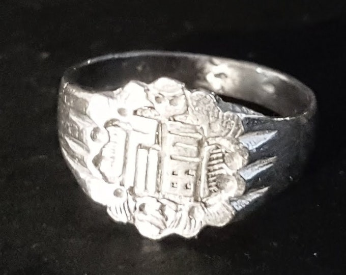 Handmade Anti Tarnished 9 2 5 Sterling Silver Luck Chinese Character Men's Ring ( Size : 6 )