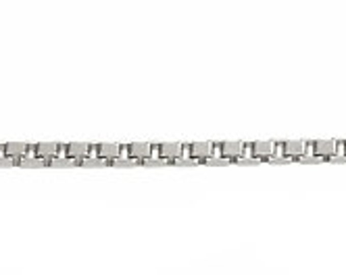 """Italian solid 18k white gold layered over .925 sterling silver - 1 mm box chain -16 """""""