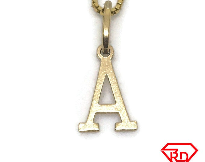 Small Letter A charm pendant 18k Yellow gold
