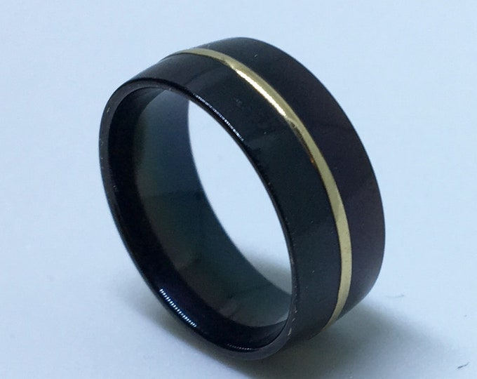8 . 0 mm Brand New Gothic Black Plated with Gold Center ring Line on Stainless Steel ring band