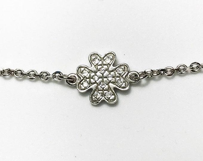 NEW 14K White Gold on Sterling Silver Unique Four Leaf Clover Bracelet