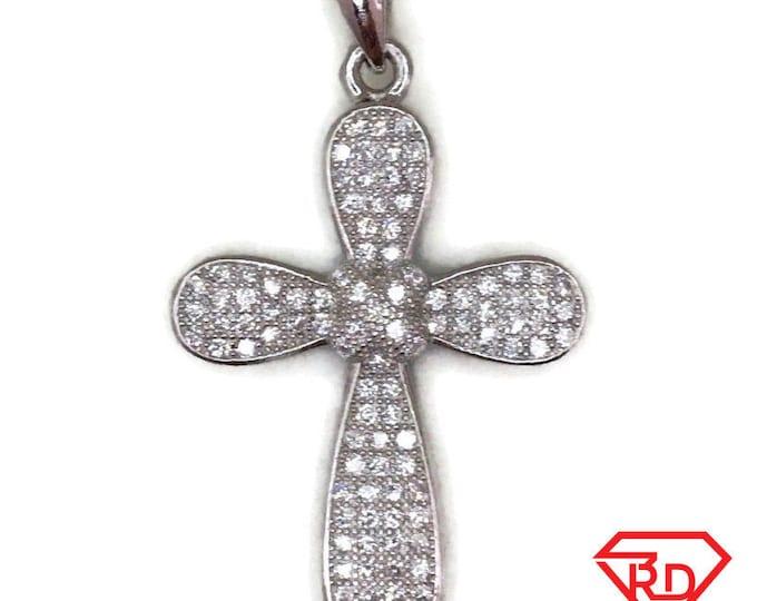 White Gold layer Silver Pendant clover Cross & white round CZ