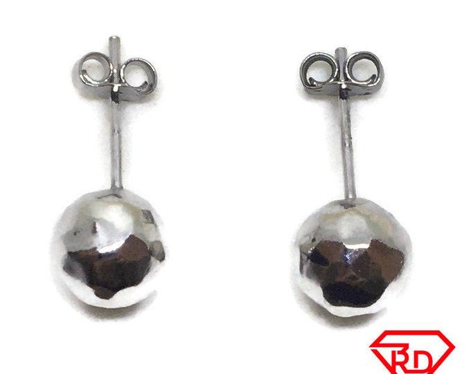 Medium Disco Ball stud Earrings White gold layer