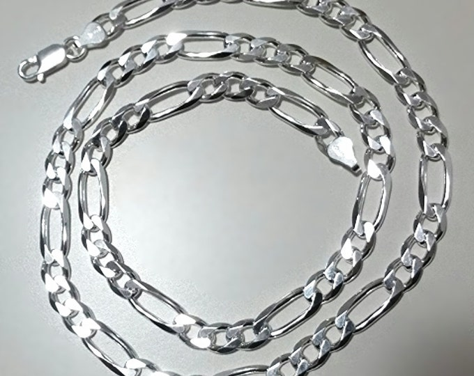 """Men Women Children Sterling Silver Italian Figaro Extra Thick Necklace 6.5mm 22"""""""