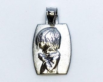 NEW 14K White Gold Layered on .925 Sterling Silver Kid Praying Pendant