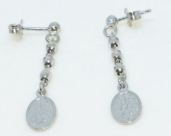 14k White Gold Layered Oval hanging chain on 925 Solid Sterling Silver Dangle Drop Earrings ( 36 . 2 mm Dangling )