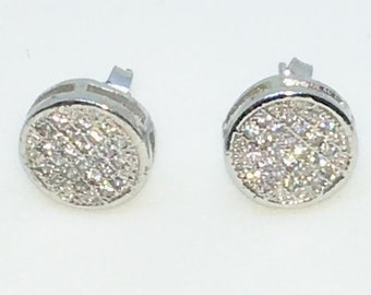 14k White Gold Layered Round shaped CZ on 925 Solid Sterling Silver Stud Earrings ( 10 . 0 mm )