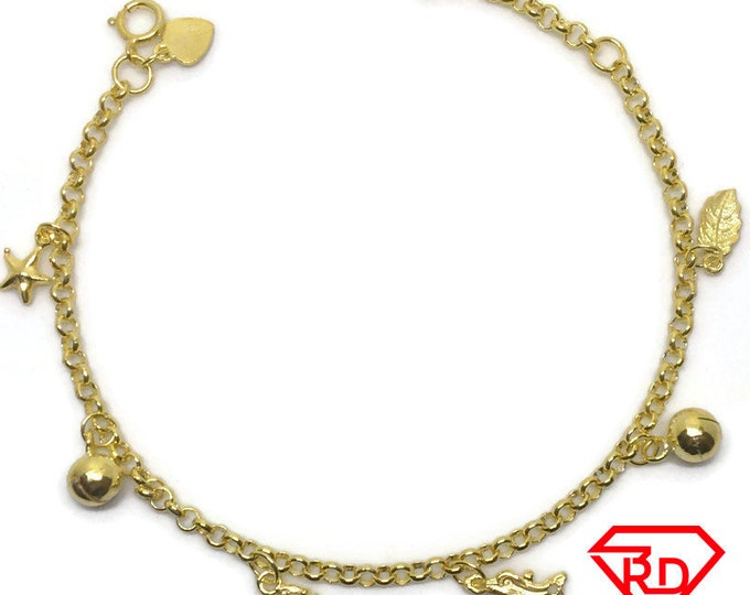 Dangling charm 8 inch Bracelet 999 Yellow Gold Layer