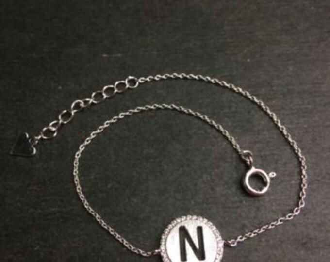 """14k layer on solid .925 silver letter """"n"""" cz handset cable link bracelet : 7-8"""""""