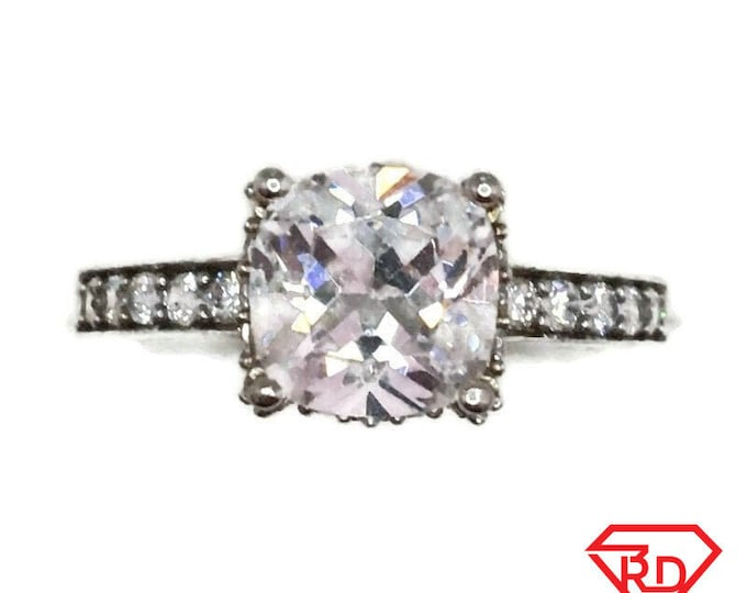 Brand New White Gold on 925 Sterling Silver Ring band Four prong basket with Princess white CZ ( size 8 )
