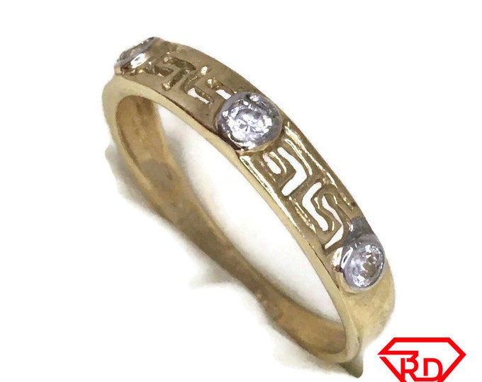 Triple Round CZ ring band 14K Real Yellow gold S10