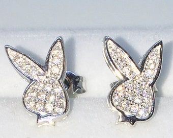 Brand New White Gold on 925 Solid Sterling Silver Bugs Bunny Rabbit with white round CZ studs Earrings ( 7 . 7  mm )