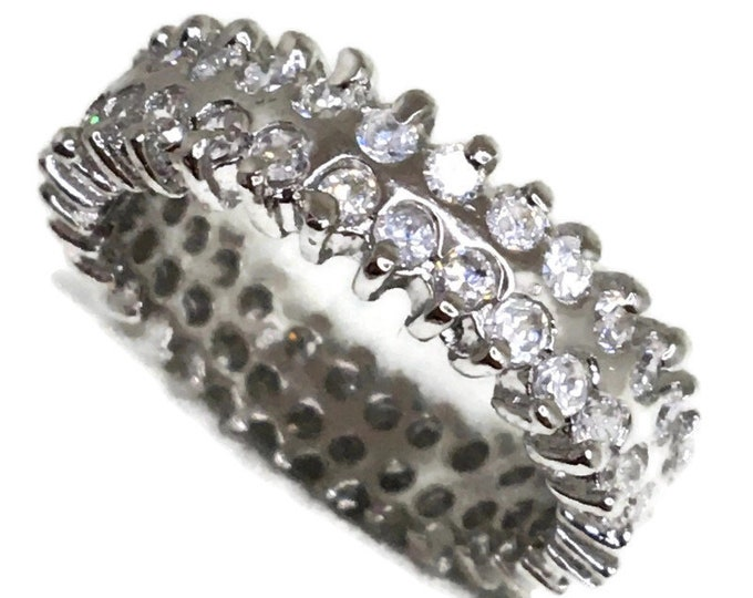 Eternity ring Cubic Zirconia 2 rows white gold on Silver ( size 6 )