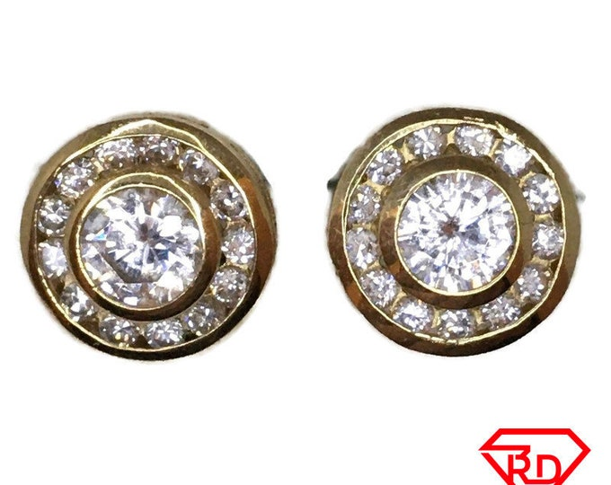 14K Cubic Zirconia double circle Stud Earrings of Yellow gold