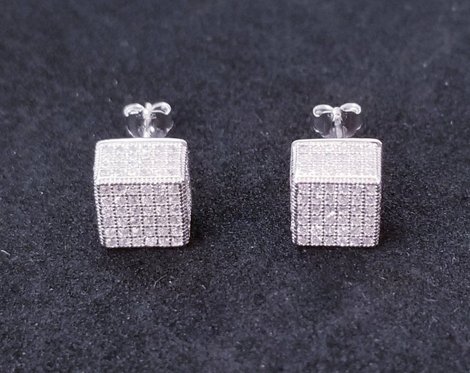 New 14K White Gold on 925 Sterling Silver Cube CZ Stones Earrings