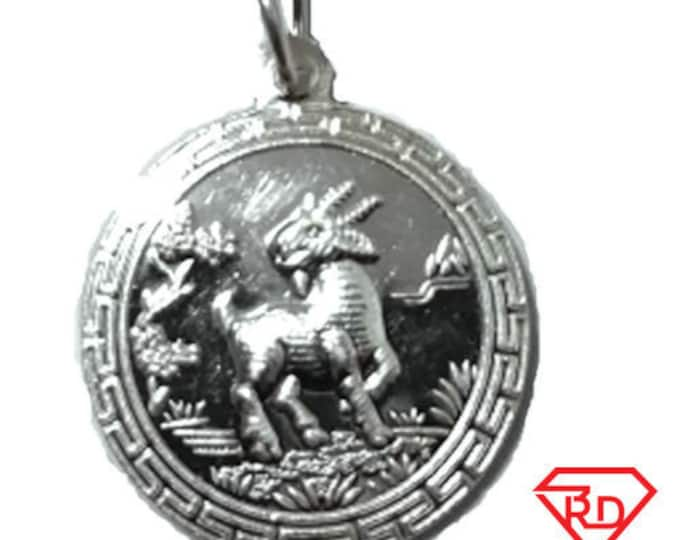 Chinese zodiac horoscope .999 fine silver round year of sheep goat pendant charm