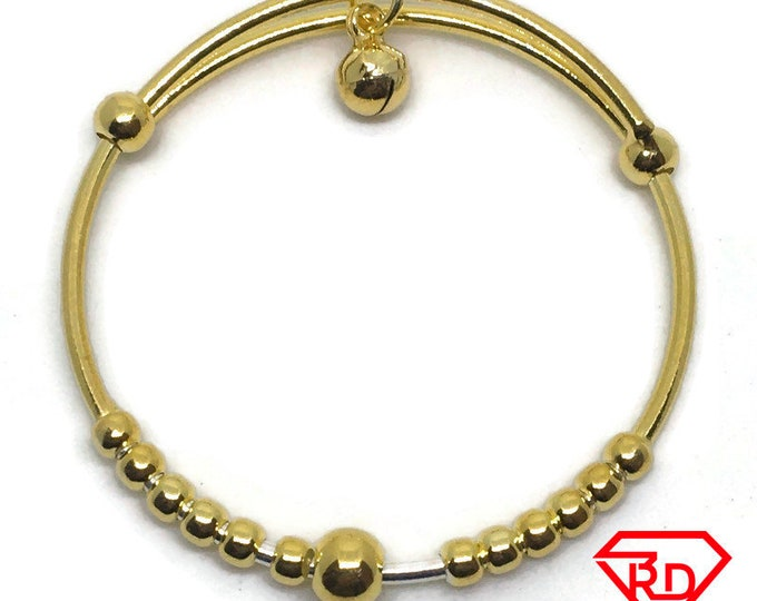 Bell charm beads slip in Baby Bangle .999 Yellow Gold Layer