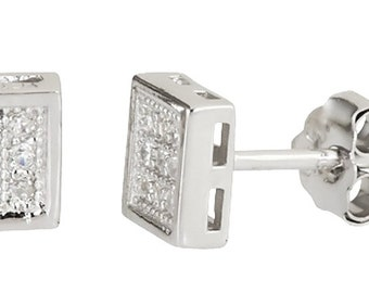 14k white gold layer on Square style micro pave CZ .925 Sterling Silver Stud Earrings
