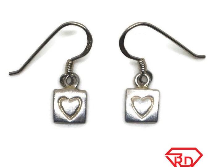 Anti-Tarnish 925 Silver Dangle Drop Earrings Square Heart