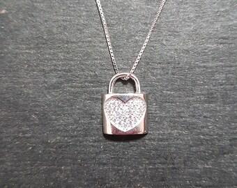 New 14k White Gold On 925 Heart Lock Pendant Charm