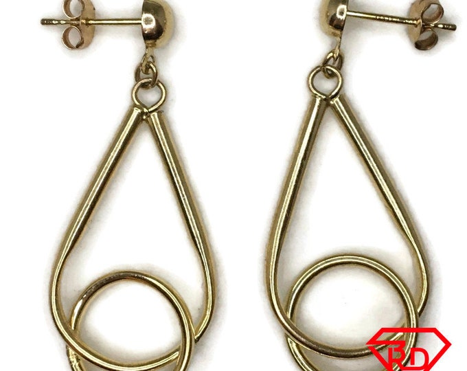 14K Hollow Teardrop dangle Earrings of yellow gold