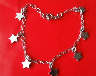 18k white gold layer on Solid 925 Sterling Silver dangling Classic Stars charms bracelet