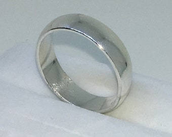 5 . 7mm Size 9 . 5 New Handmade Plain Wide . 990 Solid Silver Ring Band