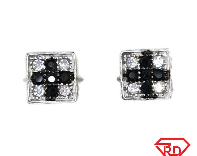 Brand New white gold on 925 Silver Studs Earrings Small Square with white round CZ and Five black CZ ( 5 . 1 mm )