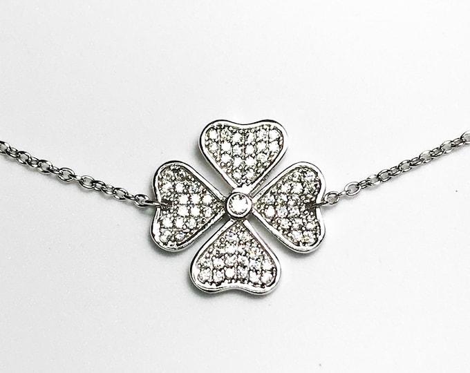 NEW .925 Sterling Silver Four Leaf Clover with Stones Bracelet
