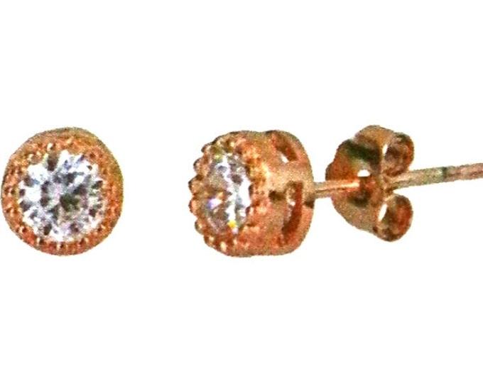 14k Rose gold layer Round Bezel prongs CZ .925 Sterling Silver Unisex Earrings