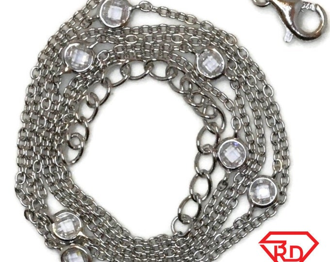Brand New White Gold on 925 Sterling Silver Necklace 22 inch Cable chain and CZ with lobsterclaw Clasp and 2 inch extension ( 0 . 7 mm )