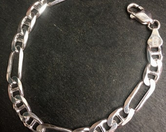 "6 . 3mm - 7"" New Solid 925 Sterling Silver Flat Marina & Figaro Design Bracelet"