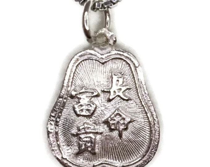 925 silver pendant two sided apple shape with fortune and luck letters and free chain