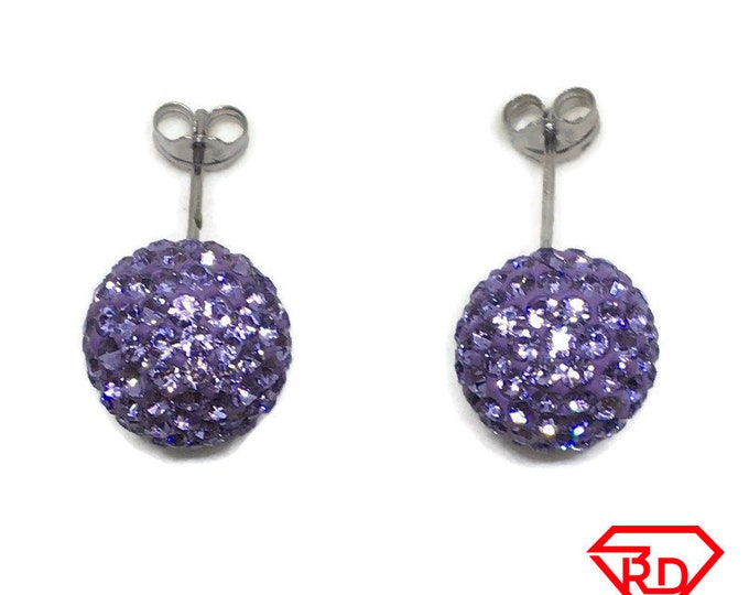 Purple Disco Ball Crystal Large stud Earrings White gold layer