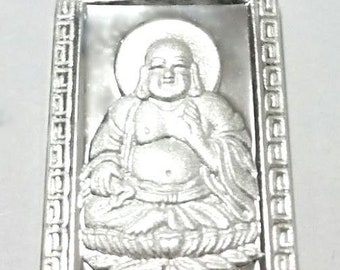 New happy laughing fat male buddha solid 999 silver rectangle meditation pendant