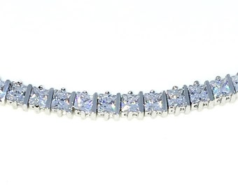 New White Gold Layered 925 Solid Sterling Silver 7 inch Unique Basket Princess White CZ Tennis Bracelet with Box Clasp