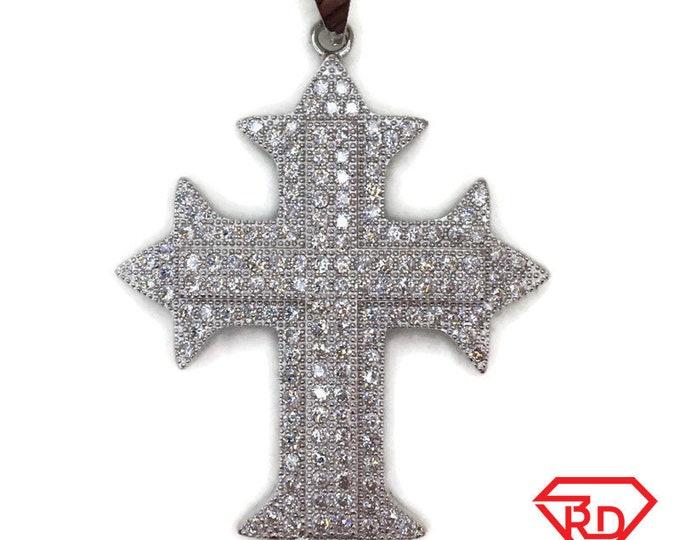 White Gold layer Silver Pendant big new coptic Cross & white round CZ