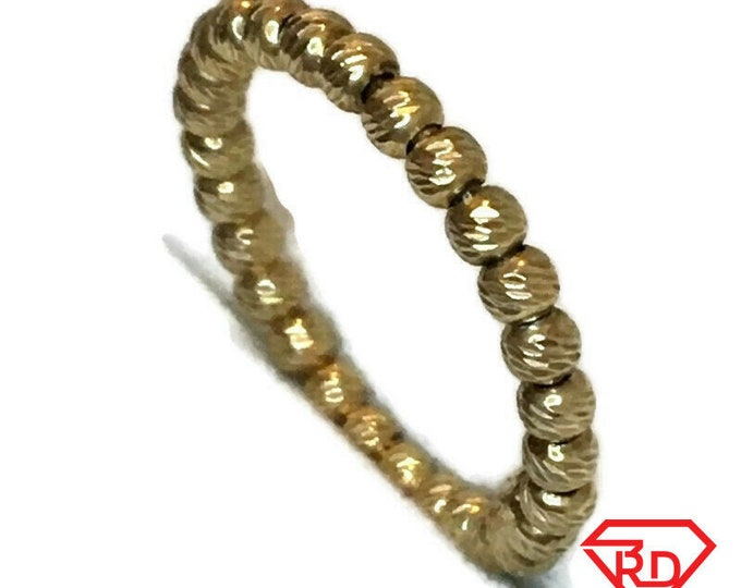 Brand New Yellow Gold on 925 Sterling Silver Ring Band diamond beads style ( 2 . 5 mm  )