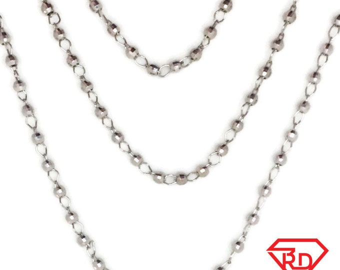 White gold layer on silver necklace triple beads chains