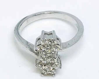 NEW 14K White Gold on Sterling Silver Double Flowers Ring